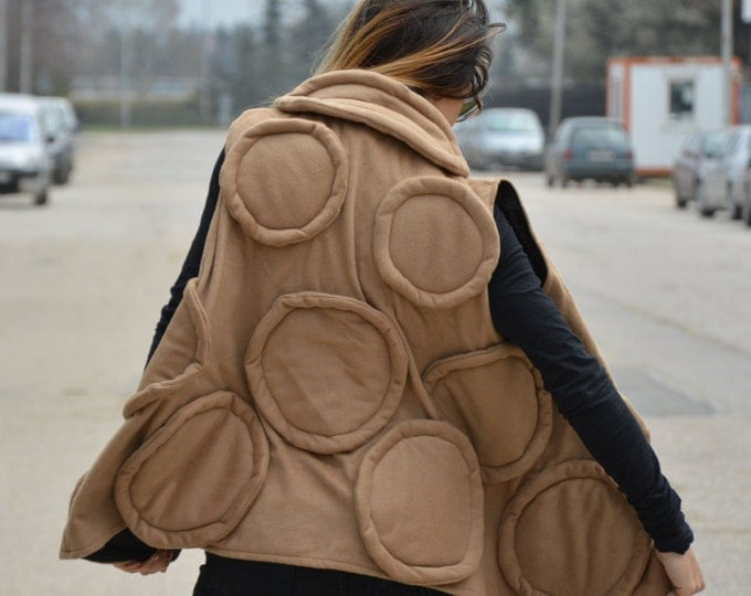 Women's Beige Cashmere Vest, Maxi Asymmetric Wool Coat, Loose Sleeveless Coat, Extravagant Coat by SSDfashion