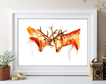 fighting stags painting,watercolor painting,large signed painting,vintage painting,animal paitning,animal art, gift,buy 2 get 1 free