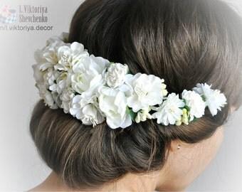 Bridal floral crown Wreath Hair Flower Crown Wedding flower crown Wedding Floral crown Flower halo Flower Hair Wreath Hair crown White LV12