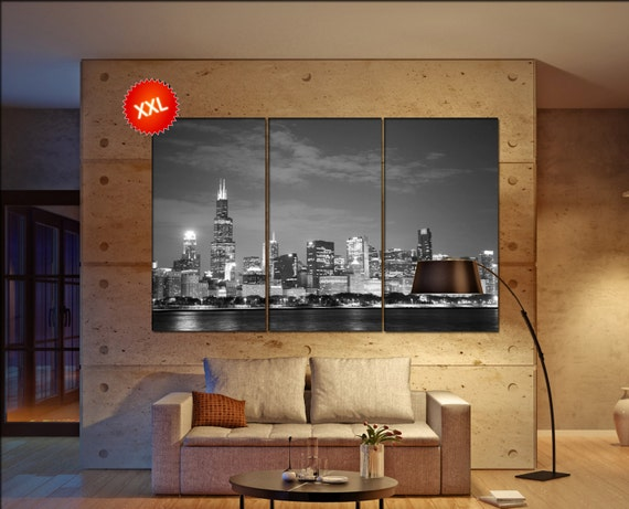 Chicago canvas wall art art  large  black white canvas wall art print Chicago downtown City Cityscape skyline City Office Decor