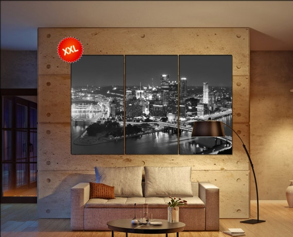 PIttsburgh wall decor art  PIttsburgh black white  PIttsburgh canvas wall art  canvas wall art