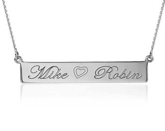 Engraved Sterling Silver Personalized Bar Necklace