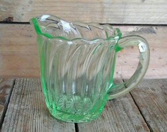 1930s Art Deco Uranium glass creamer milk jug