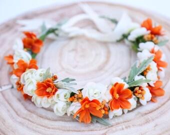Orange and white flower crown, Flower headband, headband, wedding flower crown, bridal flower crown, bohemian flower crown