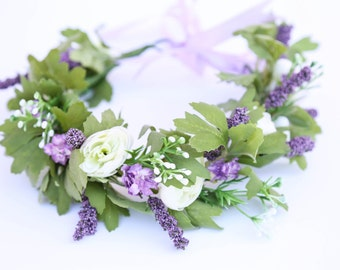 Lavender and green flower crown, Bohemian headpiece, Boho flower crown, Bridal Bohemian headpiece, baby flower crown