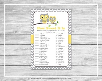 Owl Baby Shower How Sweet It Is Game - Printable Baby Shower How Sweet It Is Game - Yellow Owl Baby Shower - How Sweet Shower Game - SP133