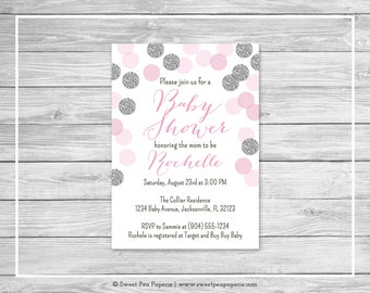 Pink and Silver Baby Shower Invitation - Printable Baby Shower Invitation - Pink and Glitter Baby Shower - Baby Shower Invitation - SP123
