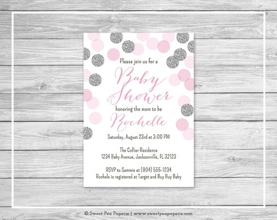 pink and silver baby shower invitation printable baby shower