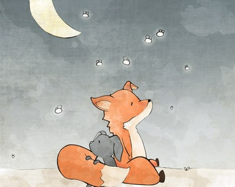Fox and Rabbit Napping - Nursery Art Print