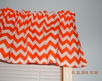 Orange and white Chevron Zig Zag Curtain Valance