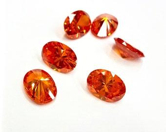 1 Piece Orange/ Mango Cubic Zirconia Stone, Oval, 2 Sizes 12x10, 14x10
