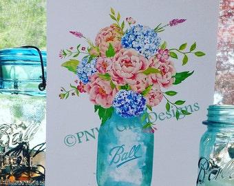 B-427 Farmhouse Ball Mason Jar Bouquet / Perfect Mason / Flowers / Watercolor / Country / Rustic / Decor / Art Print / Chic