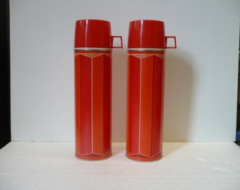 Set of 2 Red and Orange Striped Thermos King-Seeley Bottles