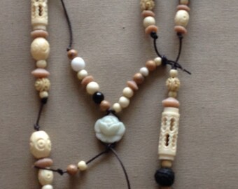 Vintage Beads and Leather Necklace