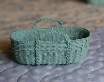 SALE - Dollhouse Moses basket in mint