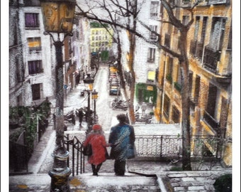 Paris art,wall decor, couple in paris, hand colored, view of paris, streets of Paris, winter, Montmartre Paris, Paris fine art