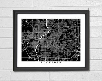 Rockford Map Art - Map Print - Black and White Print - Illinois - Hometown - Personalized - Custom - Travel - Housewarming Engagement