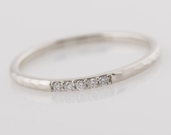 Gold Textured Diamond Band, 14K White Gold Ring, Five Diamond Ring, Thin Ring, Rough Textured Ring, Dainty Diamond Band, 5 Stone Band
