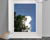 Holy Bible Quote Photo Art Print, Clouds Heaven Quote Print, Sunshine Print, Sun Sparkle, Christian Home Decor, Spiritual Wall Art, Blue Sky