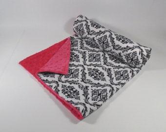 Minky Baby Blanket - Baby Blanket - Pink Damask - Minky Blanket - Baby Girl - Black and White - SALE - Baby Gift - Shower Gift
