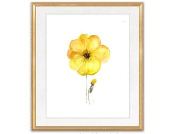 Watercolor Art Print Yellow Flower, Watercolor Painting Print, Floral Wall Art - 26