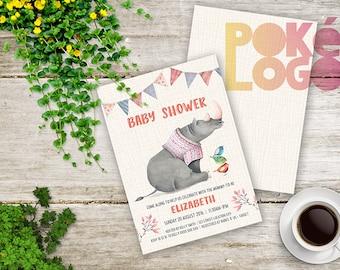 Rhino Baby Shower Printable Invite, Rhino, Birds, Bunting, Invitation, DIY Printable Digital, Watercolor