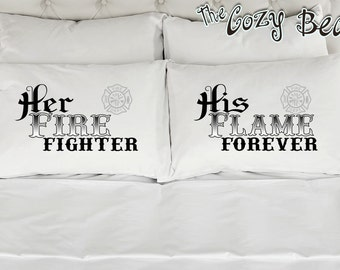 Fire Fighter Couples Printed Pillow Cases (Set of 2) Wedding, Anniversary, Bridal Shower Gift
