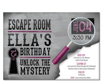 Escape Room Invite - Girls Birthday Invitation - Pink - 13th - 12th - 11th - Printable Digital File or Evite Image