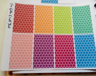 Planner Stickers-Rainbow Honeycomb Full Decorative Box Stickers