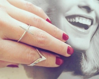 Silver V Shape Ring 925 Silver V Shape Knuckle ring Adjustable appen Ring Christmas Gift Holiday Gift Stack Ring Birthday Gift
