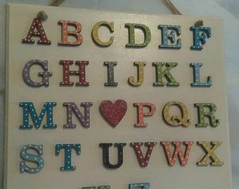 I Heart U Alphabet Nursery Art
