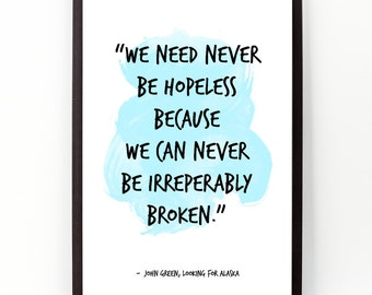 We need  never (...), John Green quote , John Green Watercolor Poster, John Green Wall Art, Motivational quote, Inspirational quote,