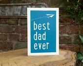 Hand printed lino Dad birthday card - Original print - best dad ever block colour lino print