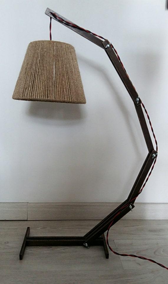 Lampe en bois rustique lampe de table bois arc lampe de - Lampe de table bois ...