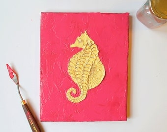 Pink and Gold Seahorse