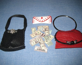 Handmade Barbie Clothes, Barbie Doll Clothes,  2 Barbie Purses, Black and Red, 1 White Wallet and real looking money