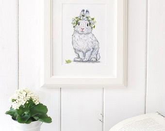 Bunny Art Print, Bunny Painting, Floral Bunny, Giclee Print,Nursery Art ,Archival art print, Nursery decor,White Rabbit art print