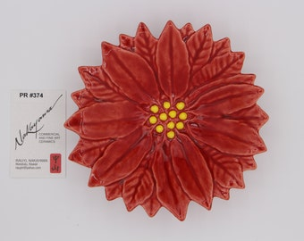 Red Poinsettia Ceramic Flower Dish, Made In Hawaii, Food Safe
