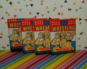 Vintage lot of 4 Topps 1987 Wrestlemania III unoppened wax packs