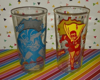 Vintage Batman and Robin 1966 Juice Glasses
