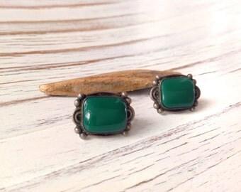 Vintage Sterling Silver Earrings // Sterling Mexican Earrings//  Morales Medrano Earrings // Green Onyx Earrings