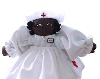 African American Rag Doll Nurse, Handmade Cloth Doll, Doll Wearing Nurse's Uniform, Nurse's Badge, Medical Bag with a Red Cross, Ethnic Doll