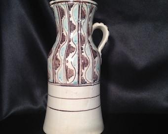 Talavera Pitcher signed,Signed TALAVERA Pottery Ceramic Pitcher, Spanish Talavera Pitcher,Mexican Spanish Folk Art Pitcher,Signed Pottery