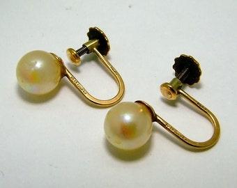 Vintage 9ct 9k Yellow Gold 7mm Pearl Screw Back Stud Earrings