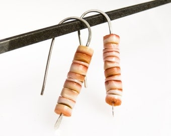 Earrings, 925 sterling silver, shell