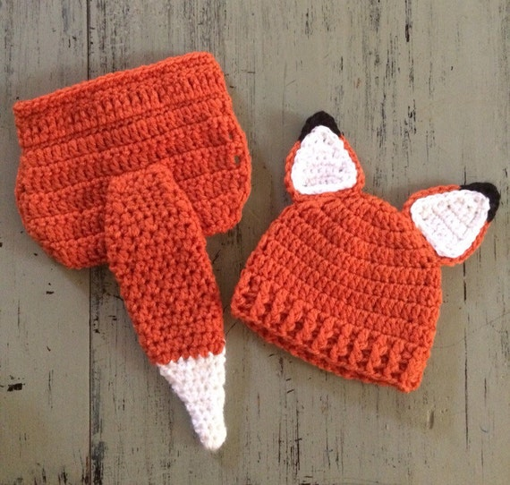 Items similar to Newborn Crochet Fox Hat and Diaper Cover ...