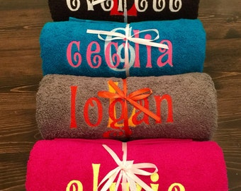 Embroidered Towels, Bath Towel, Personalized Towels, Bath Towels, Kids Personalized Towels, Adult, Birthday Present, Holiday, Christmas Gift