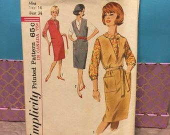 Simplicity 5067 vintage 60s dress jumper blouse sewing pattern size 14