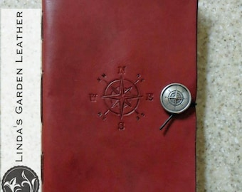 Handmade Leather Compass Journal or Sketchbook