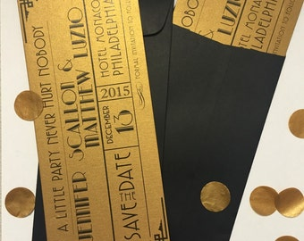 Gatsby Wedding Invitation / Save the Date Announcement / Gold Invitation